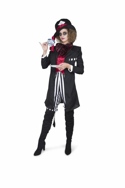 Ladies Wonderland Mad Black Hatter Adult Book Week Fancy Dress Costume Outfit Thumbnail 1