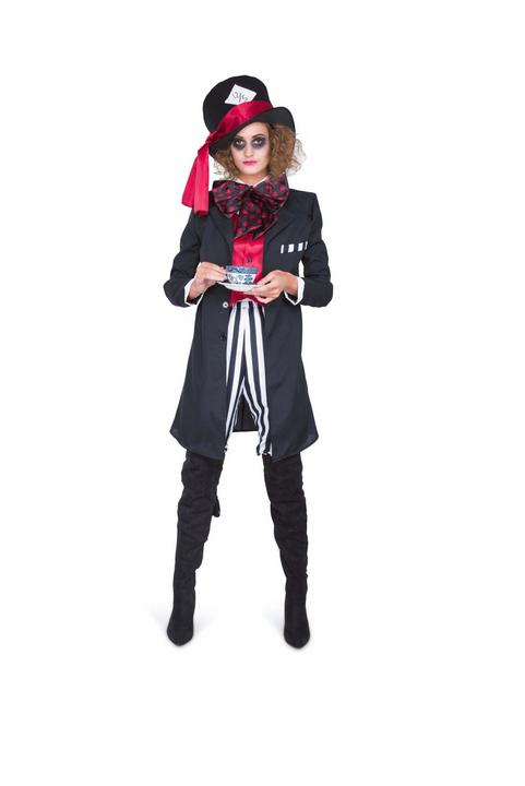 Ladies Wonderland Mad Black Hatter Adult Book Week Fancy Dress Costume Outfit Thumbnail 2