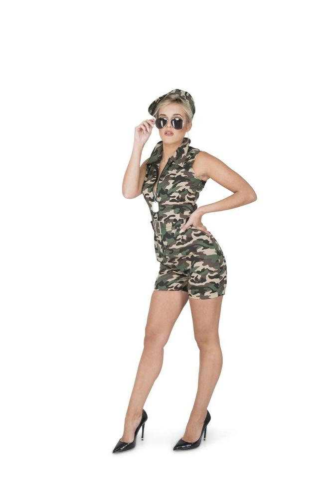 Ladies Sexy Army Camo Soldiers Uniform Adult Fancy Dress Costume Party Outfit