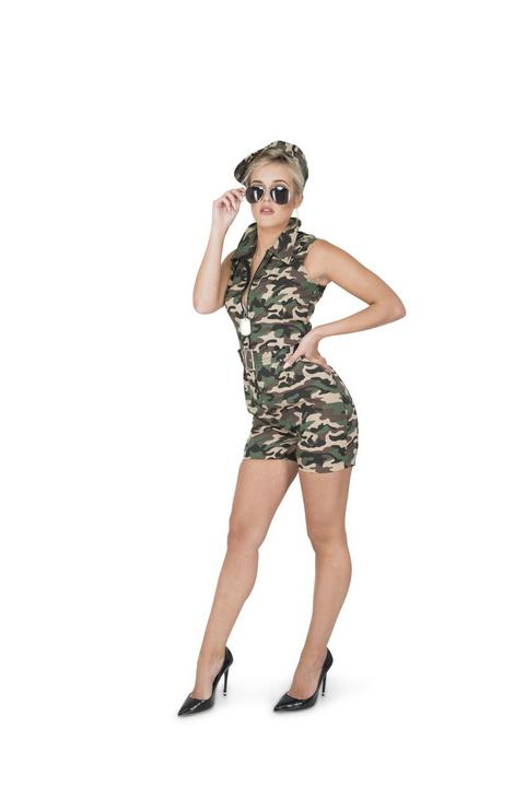 Ladies Sexy Army Camo Soldiers Uniform Adult Fancy Dress Costume Party Outfit Thumbnail 1