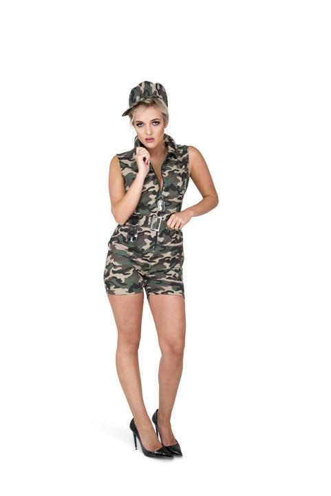 Ladies Sexy Army Camo Soldiers Uniform Adult Fancy Dress Costume Party Outfit Thumbnail 2