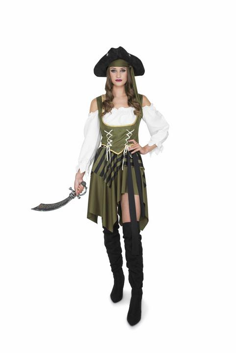 Ladies Sexy Swashbuckler Pirate Green Adult Fancy Dress Costume Hen Party Outfit Thumbnail 1
