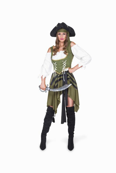 Ladies Sexy Swashbuckler Pirate Green Adult Fancy Dress Costume Hen Party Outfit Thumbnail 2