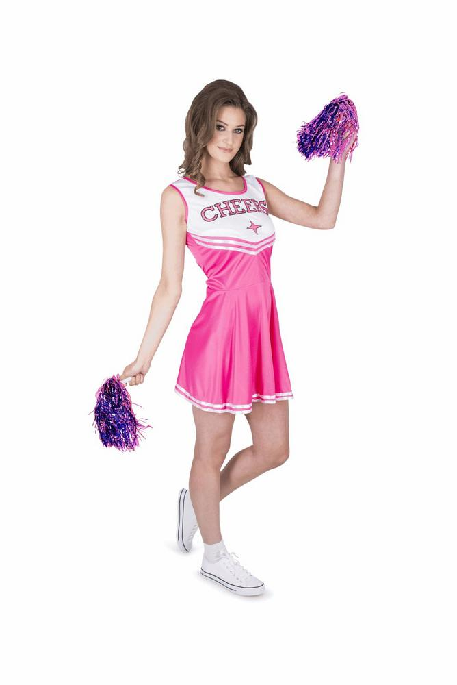 Ladies Sexy High School Cheer Leader Pink Adult Fancy Dress Costume Party Outfit