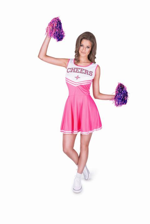 Ladies Sexy High School Cheer Leader Pink Adult Fancy Dress Costume Party Outfit Thumbnail 2