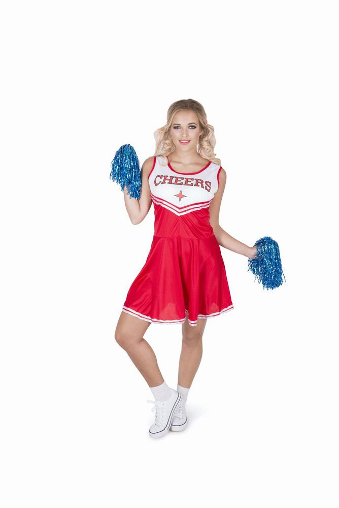 Ladies Sexy High School Cheer Leader Red Adult Fancy Dress Costume Party Outfit