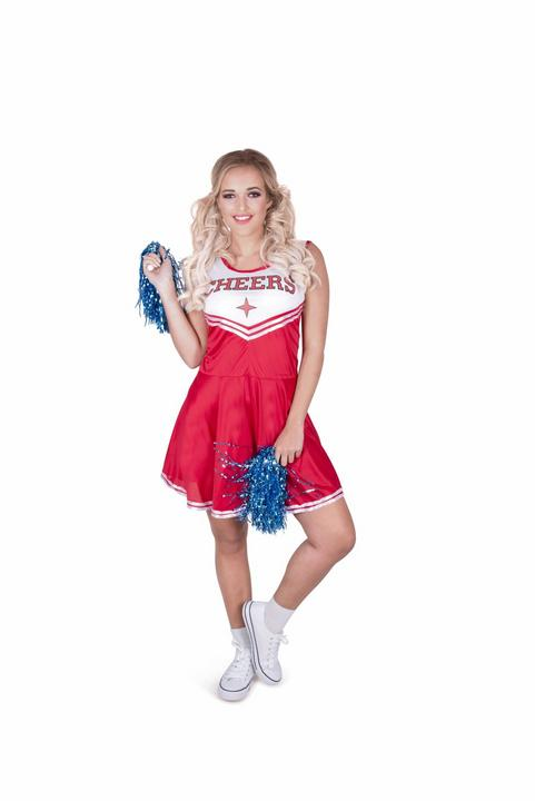 Ladies Sexy High School Cheer Leader Red Adult Fancy Dress Costume Party Outfit Thumbnail 2
