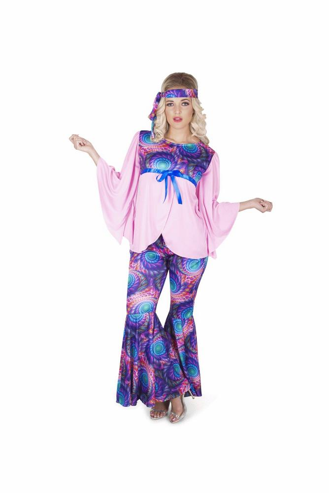 Ladies 60s 70s Boho Girl Hippie Adult Fancy Dress Costume Hen Party Outfit