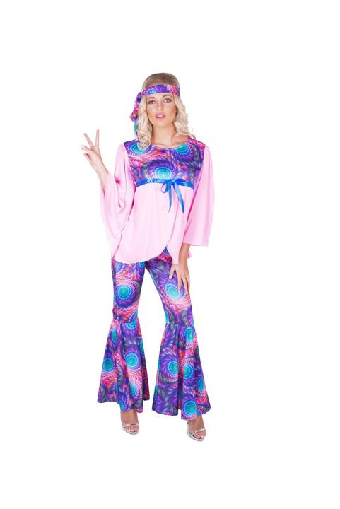 Ladies 60s 70s Boho Girl Hippie Adult Fancy Dress Costume Hen Party Outfit Thumbnail 2