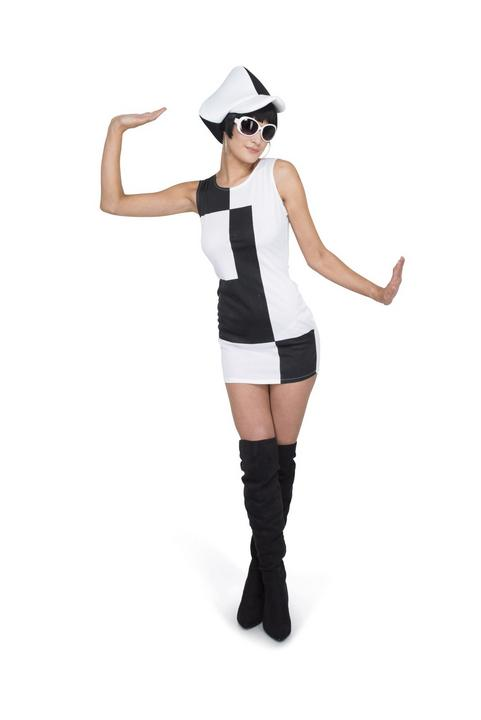 Ladies 60s 70s Monochrome Black and White Adult Fancy Dress Hen Party Outfit Thumbnail 1