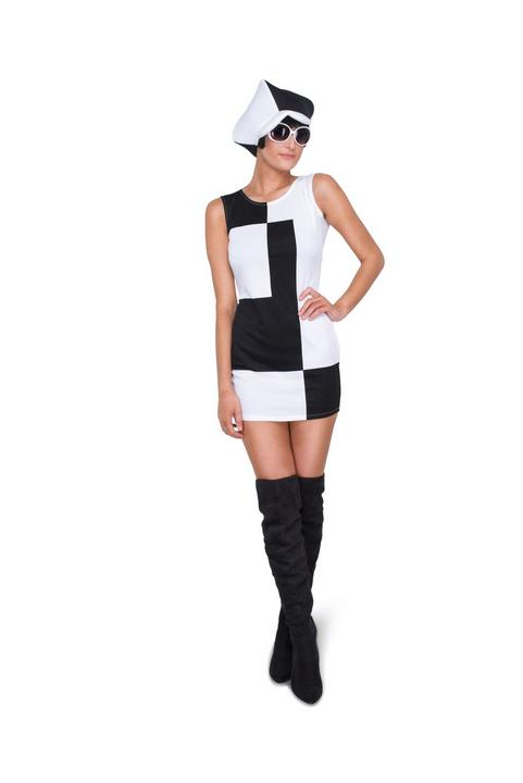 Ladies 60s 70s Monochrome Black and White Adult Fancy Dress Hen Party Outfit Thumbnail 2