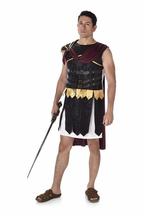 Mens Deluxe Roman Soldier Gladiator Adult Fancy Dress Costume Stag Party Outfit Thumbnail 2
