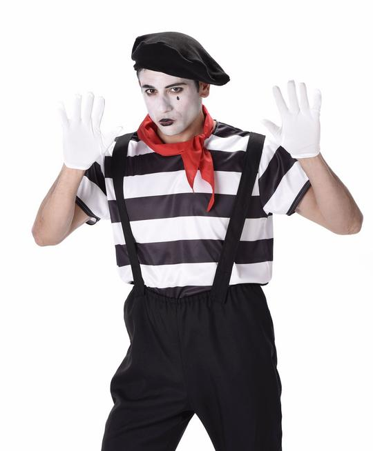 Mens French Mime Artist Black & White Adult Fancy Dress Costume Party Outfit Thumbnail 1