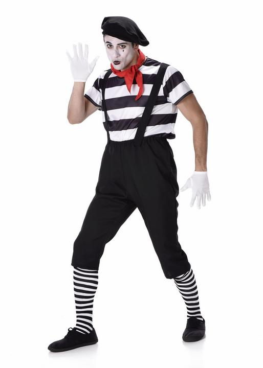 Mens French Mime Artist Black & White Adult Fancy Dress Costume Party Outfit Thumbnail 2