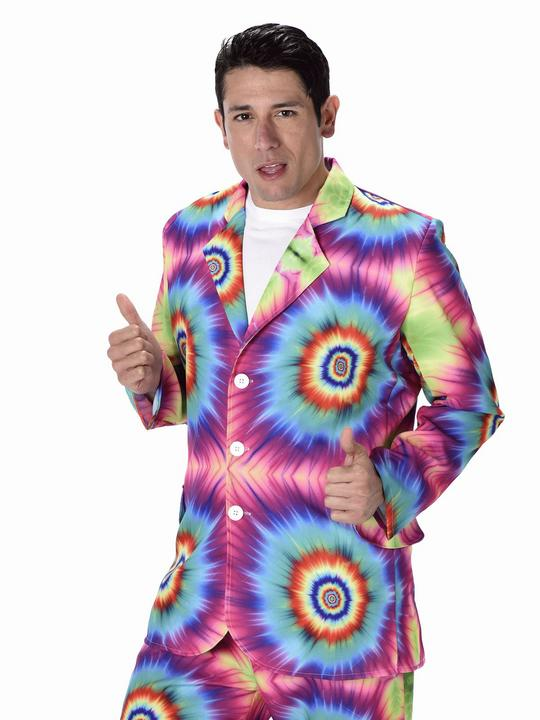 Mens 60s 70s Groovy Hippie Tie Dye Suit Adult Fancy Dress Costume Party Outfit