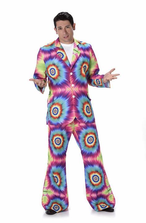 Mens 60s 70s Groovy Hippie Tie Dye Suit Adult Fancy Dress Costume Party Outfit Thumbnail 2