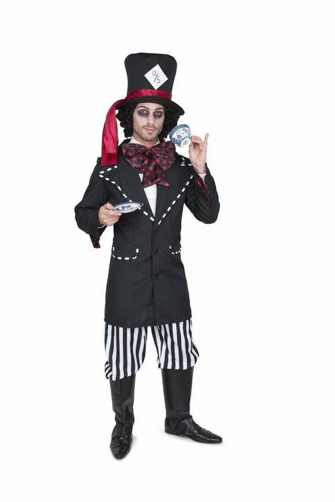 Mens Wonderland Mad Black Hatter Adult Book Week Fancy Dress Costume Outfit Thumbnail 1
