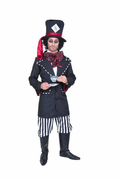 Mens Wonderland Mad Black Hatter Adult Book Week Fancy Dress Costume Outfit Thumbnail 2