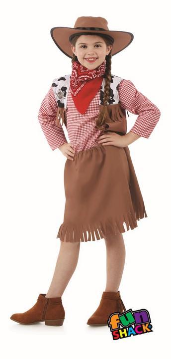 Cowgirl Girl's Fancy Dress Costume Thumbnail 1