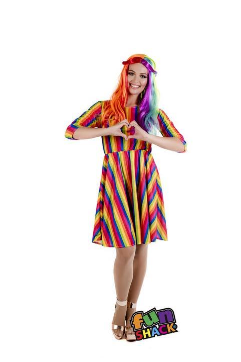Rainbow Dress Women's Fancy Dress Costume Thumbnail 1