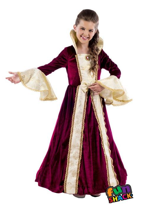 Royal Ball Gown Victoria Girl's Fancy Dress Costume Thumbnail 1