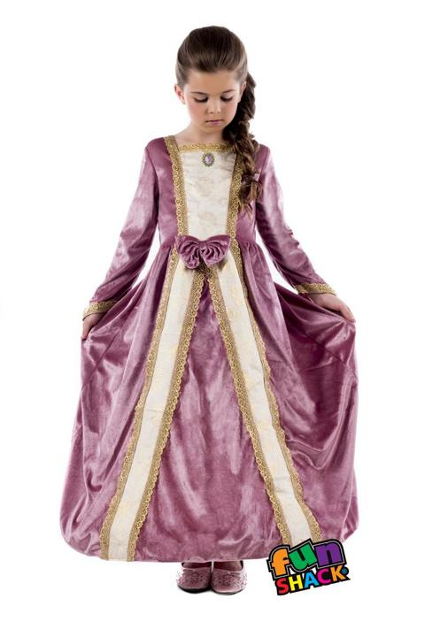 Royal Ball Gown Elizabeth Girl's Fancy Dress Costume Thumbnail 1