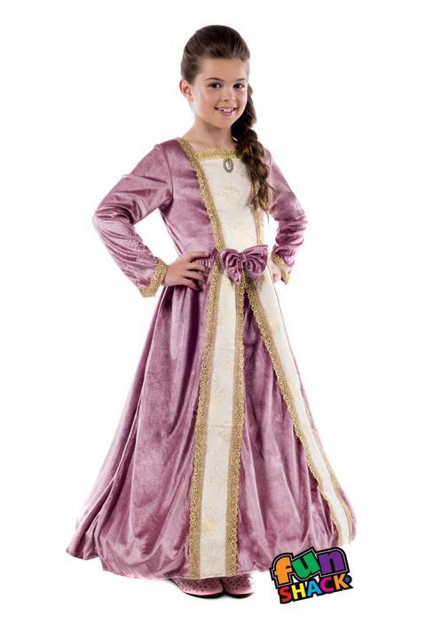 Royal Ball Gown Elizabeth Girl's Fancy Dress Costume Thumbnail 2