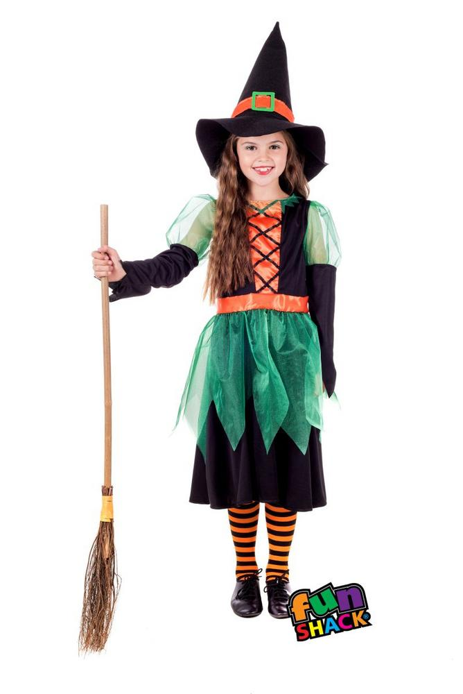 Green Witch Girl's Fancy Dress Costume