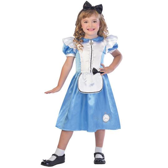 Girls Alice in wonderland costume kids school book week story fancy dress outfit Thumbnail 1