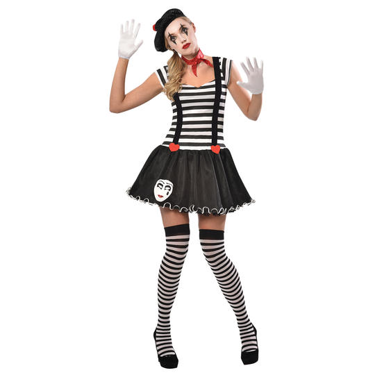Mime Costume Womens Ladies Fancy Dress Outfit Dressup party story  Thumbnail 1