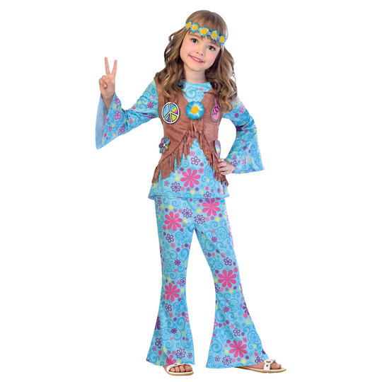 Flower Power Hippie Girl's Fancy Dress Costume Thumbnail 1