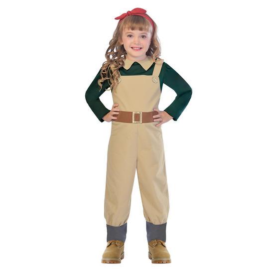 Girls 1940 landgirl costume kids world war 2 school book week fancy dress outfit Thumbnail 1