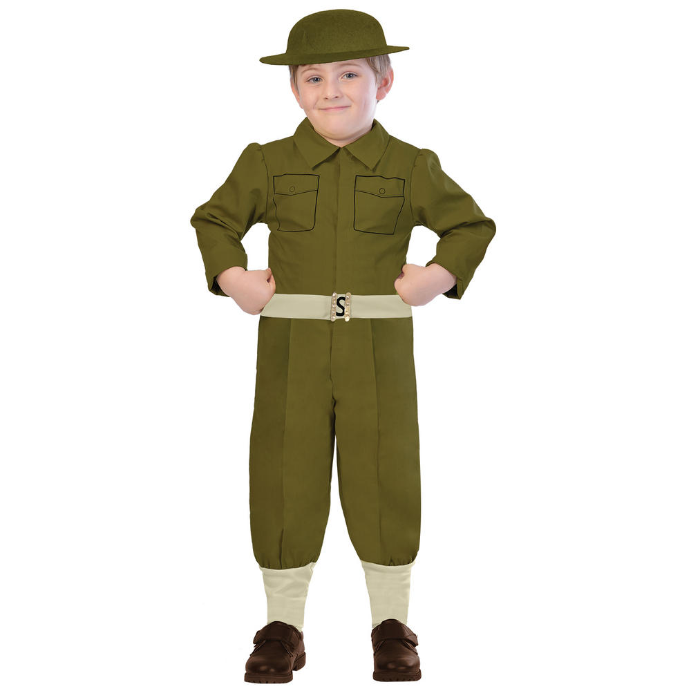 Boys WW1 Soldier Costume Kids World War School Book week Fancy Dress Outfit