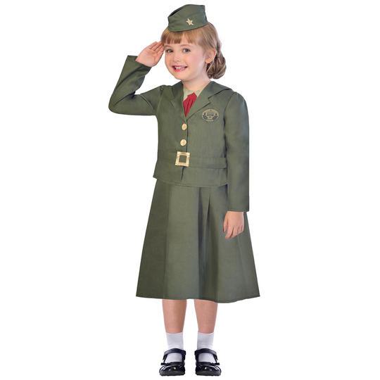 girl WW2 solider costume 1940 kids school book week fancy dress world war outfit Thumbnail 1