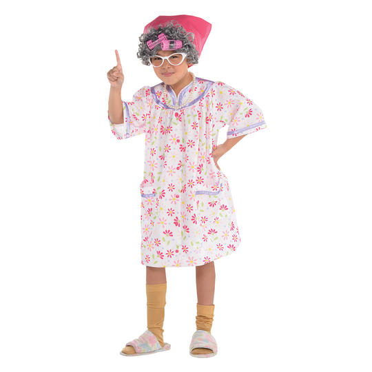 Girls old lady granny costume kids school book week fancy dress outfit Thumbnail 1