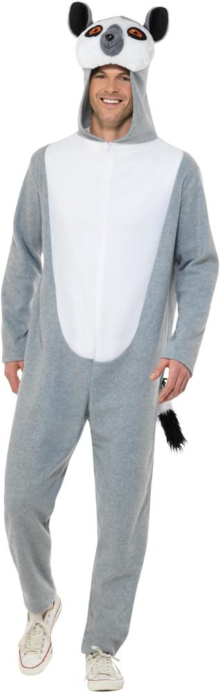 Lemur Costume Mens Womens Costume Adults Fancy Dress Outfit Animal Party