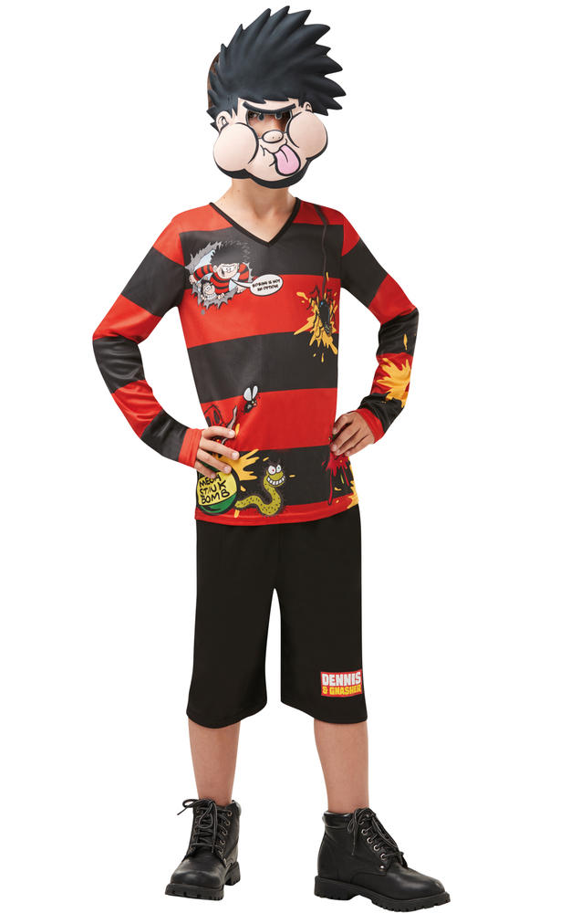 Boys Dennis the Menace Costume Kids Beano Comic Book Week Fancy Dress Outfit