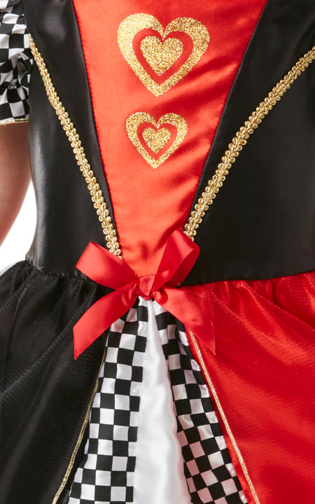 Girls Red Queen of Hearts Costume kids Disney Alice in Wonderland Fancy Dress Thumbnail 2