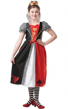 Girls Red Queen of Hearts Costume kids Disney Alice in Wonderland Fancy Dress Thumbnail 1