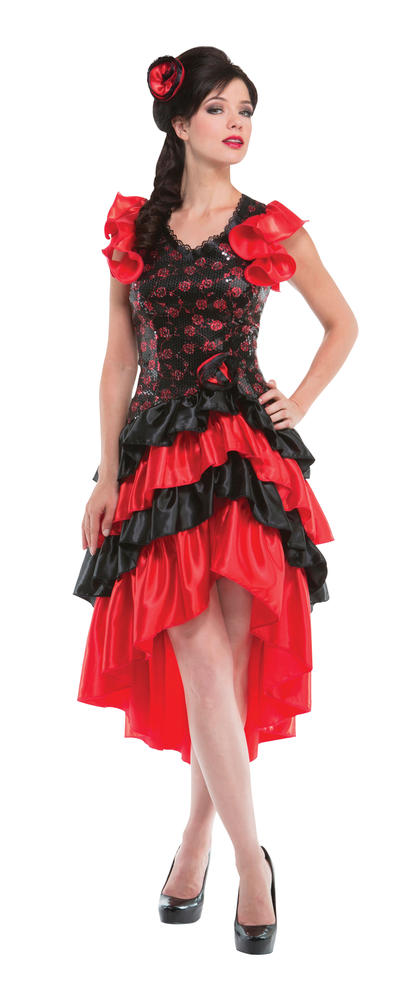 Flamenco Senorita Spanish Costume Womens Fancy Dress Outfit Dressup Party