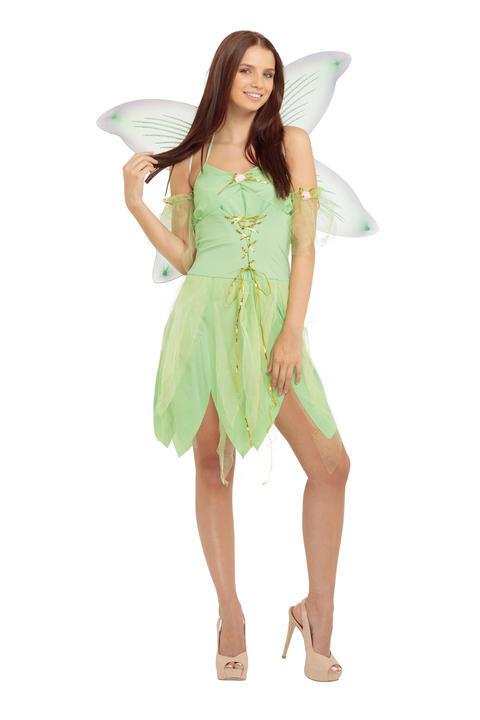 Fairy Tinkerbell Womens Costume Ladies Fancy Dress Outfit Fairytale Story Book Thumbnail 1