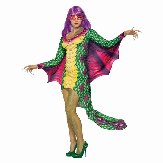 Dragon Dress Womens Costume Ladies Fancy Dress Outfit Animal Story Book Fantasy Thumbnail 1