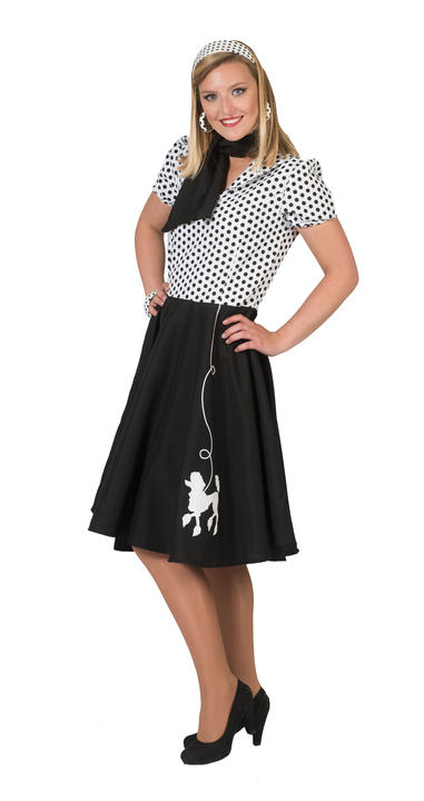 1950s Rock n Roll Bopper Poodle Pin up Womens Costume Ladies Fancy Dress Outfit Thumbnail 3