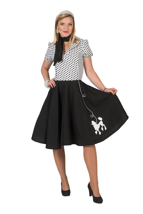 1950s Rock n Roll Bopper Poodle Pin up Womens Costume Ladies Fancy Dress Outfit Thumbnail 1