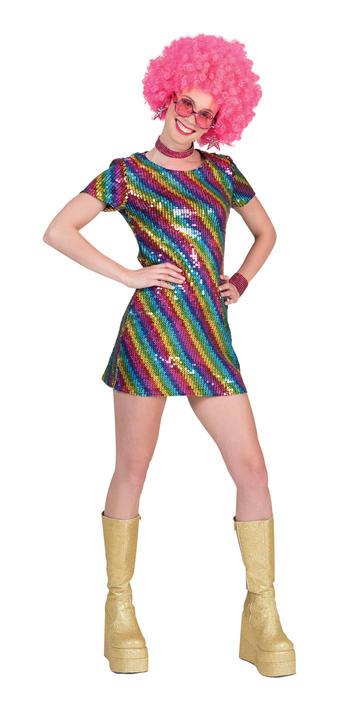 1960s 1970s Disco Diva Hippy Hippie Costume Womens Fancy Dress Ladies Outfit Thumbnail 1