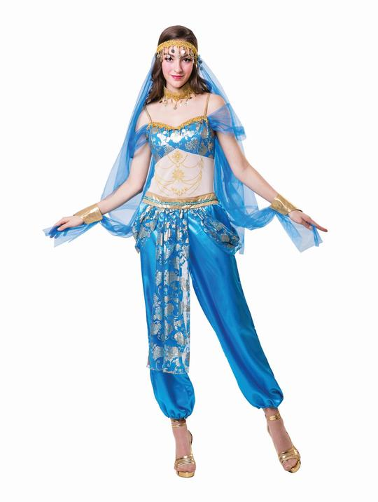 Harem Dancer Womens Costume Egyptian Belly Goddess Ladies Fancy Dress Outfit Thumbnail 1