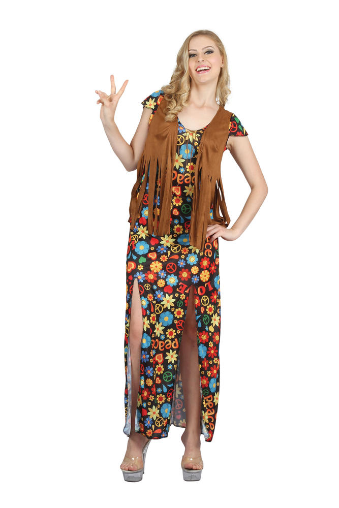 1960s 1970s Disco Diva Hippy Hippie Costume Womens Fancy Dress Ladies Outfit