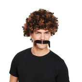 80s Afro Wig + Tash 2 Tone Brown