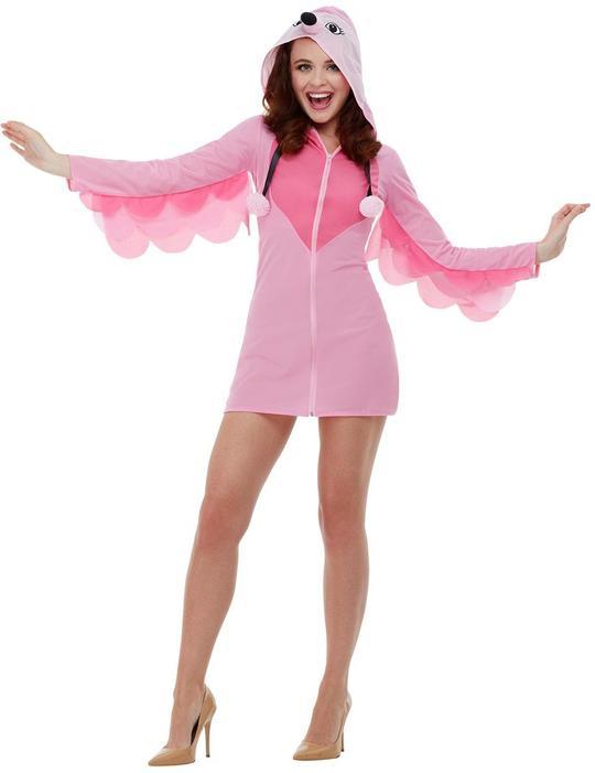 Flamingo Womens Costume Ladies Fancy Dress Costume Animal Bird Story Dressup Thumbnail 1