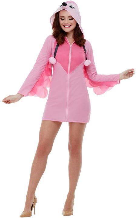 Flamingo Womens Costume Ladies Fancy Dress Costume Animal Bird Story Dressup Thumbnail 2